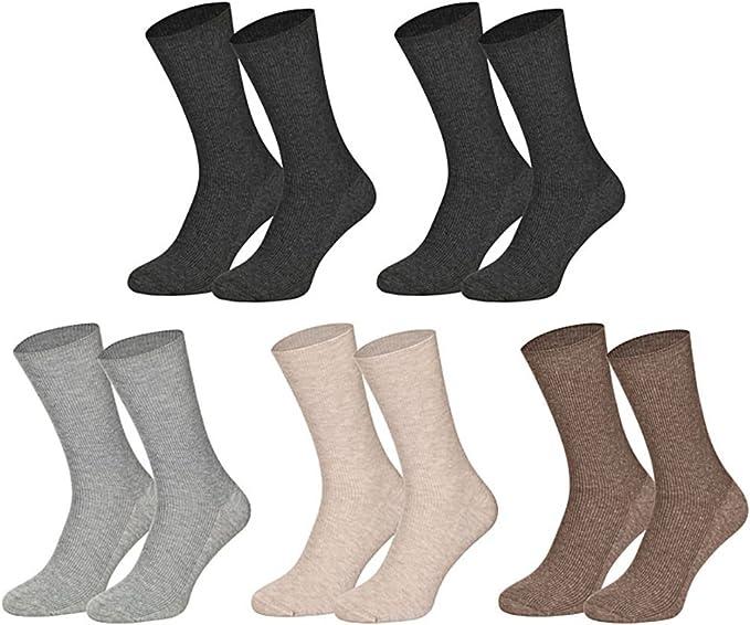 10 pares de Calcetines de Algodón sin presión de goma para hombre ...