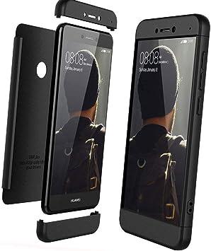 XCYYOO Funda para Huawei P8 Lite 2017 Custodia de 360°Caja Protectora PC Shell,Carcasa Huawei P8 Lite 2017 Silicona Snap On Diseño Antigolpes Choque Absorción Bumper Cubierta 3 en 1 Estructura-Negro: Amazon.es: Electrónica