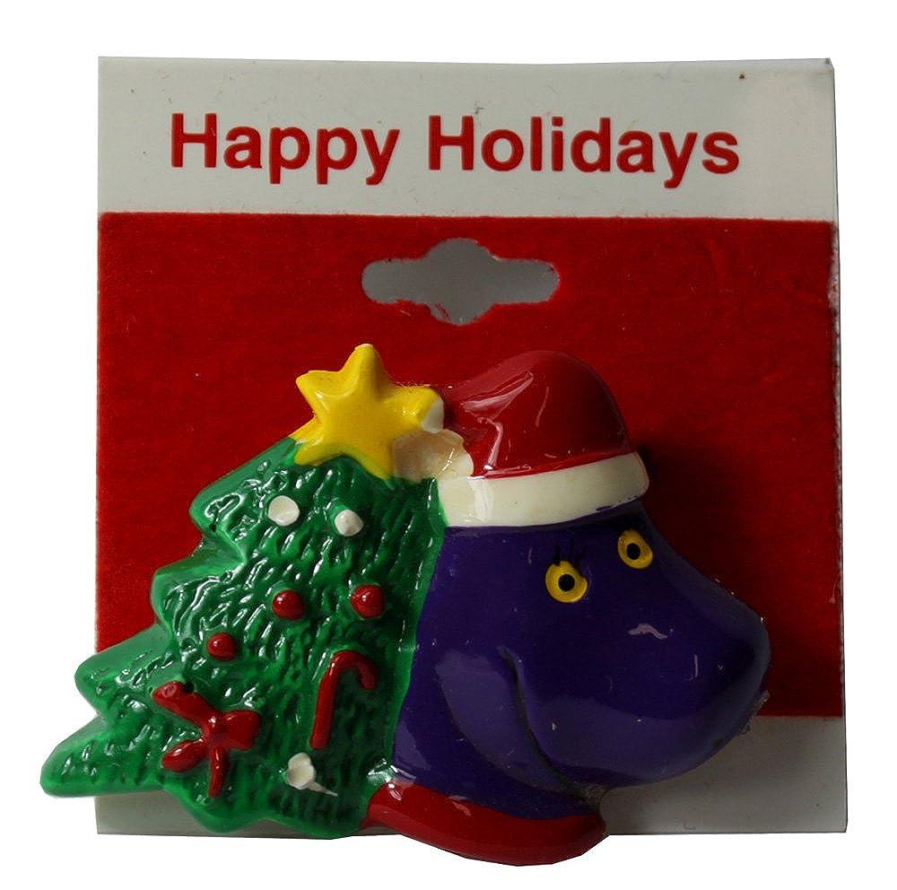 Amazon.com: Barney with Christmas Tree Brooch: Jewelry