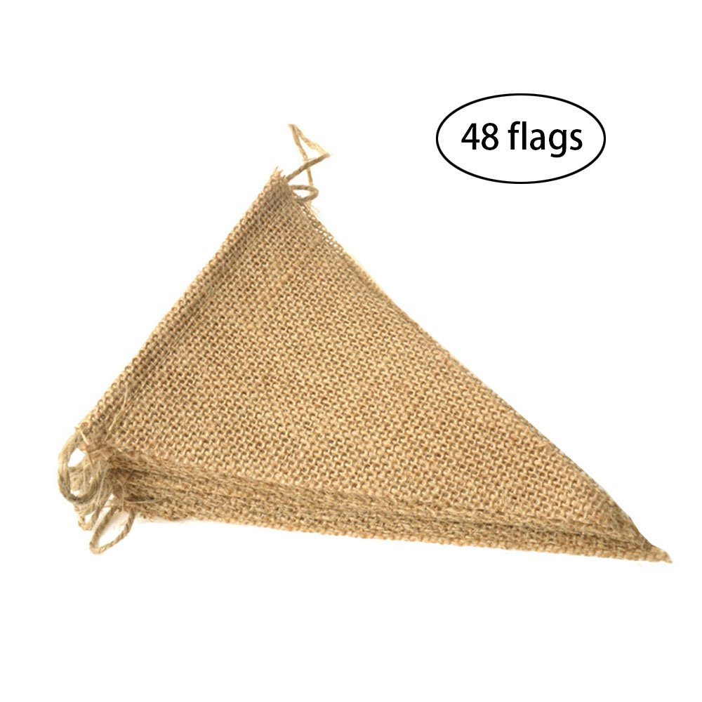 LEOBRO 48 Pcs Burlap Banner, 36 Ft Triangle Flag ,DIY Decoration for Holidays, Wedding, Camping, Party and Any Occasion Shipping by FBA
