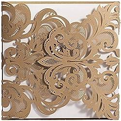 Doris Home Champange Gold Laser-cut Lace Flower Pattern Wedding Invitations Cards, 100 pcs,CW3109
