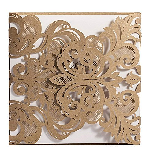 Doris Home 100 pcs Champange Gold Laser-cut Lace Flower Pattern Wedding Invitations Cards,CW3109