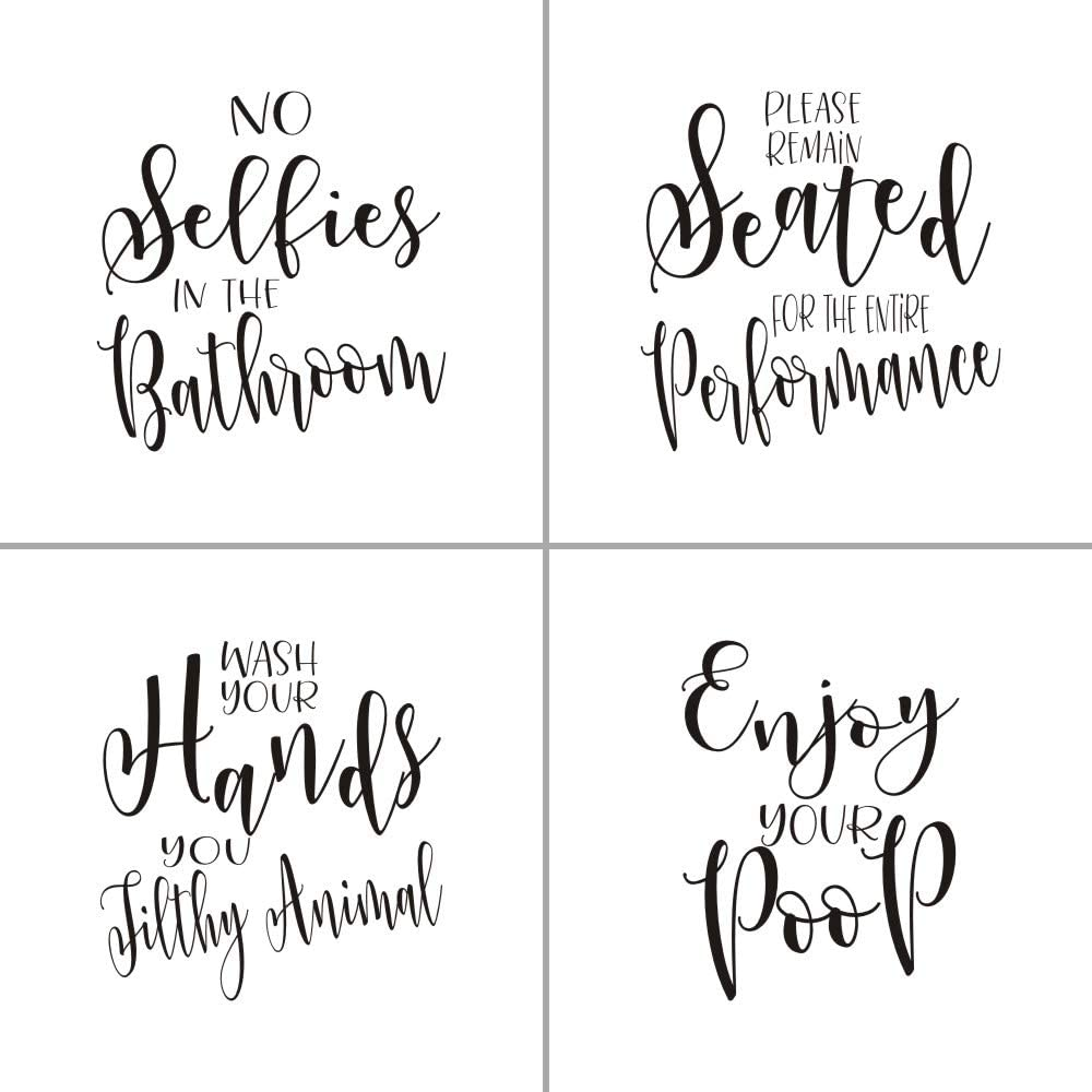 MoharWall Set of 4 Bathroom Quotes Wall Art Decal Saying Stickers Removable Vinyl Decal Decor