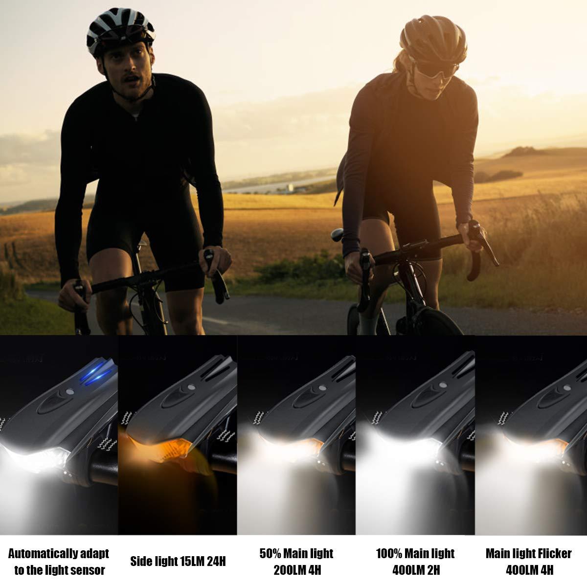 montagne Lumi/ère V/élo Rechargeable USB route LED Ultra Puissant Eclairage V/élo Batterie au Lithium 1200 mAh Lampe V/élo Arri/ère 5 Modes de Luminosit/é /& Impermeable IP65 Convient /à tous les v/élos