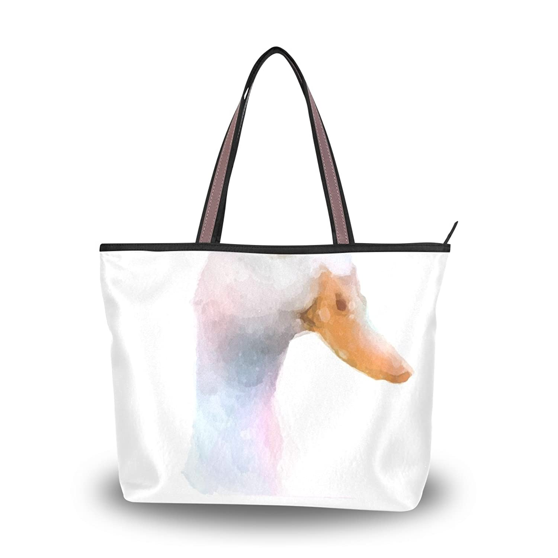 Women's School Large Handbag Shoulder Bags,Watercolor Animal Duck ,Tote Bag