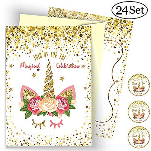 NEW 24 Pack Unicorn Invitation Cards with 24 Yellow Envelopes and 24 Unicorn Stickers (Chocolate Invitations Party)