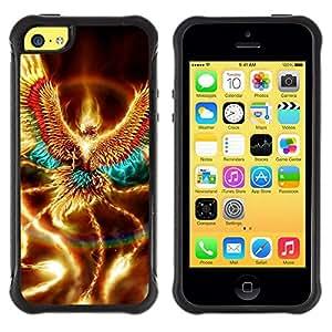 "Pulsar iFace Series Tpu silicona Carcasa Funda Case para Apple iPhone 5C , Oro brillante Phoenix Wings criatura mística"""