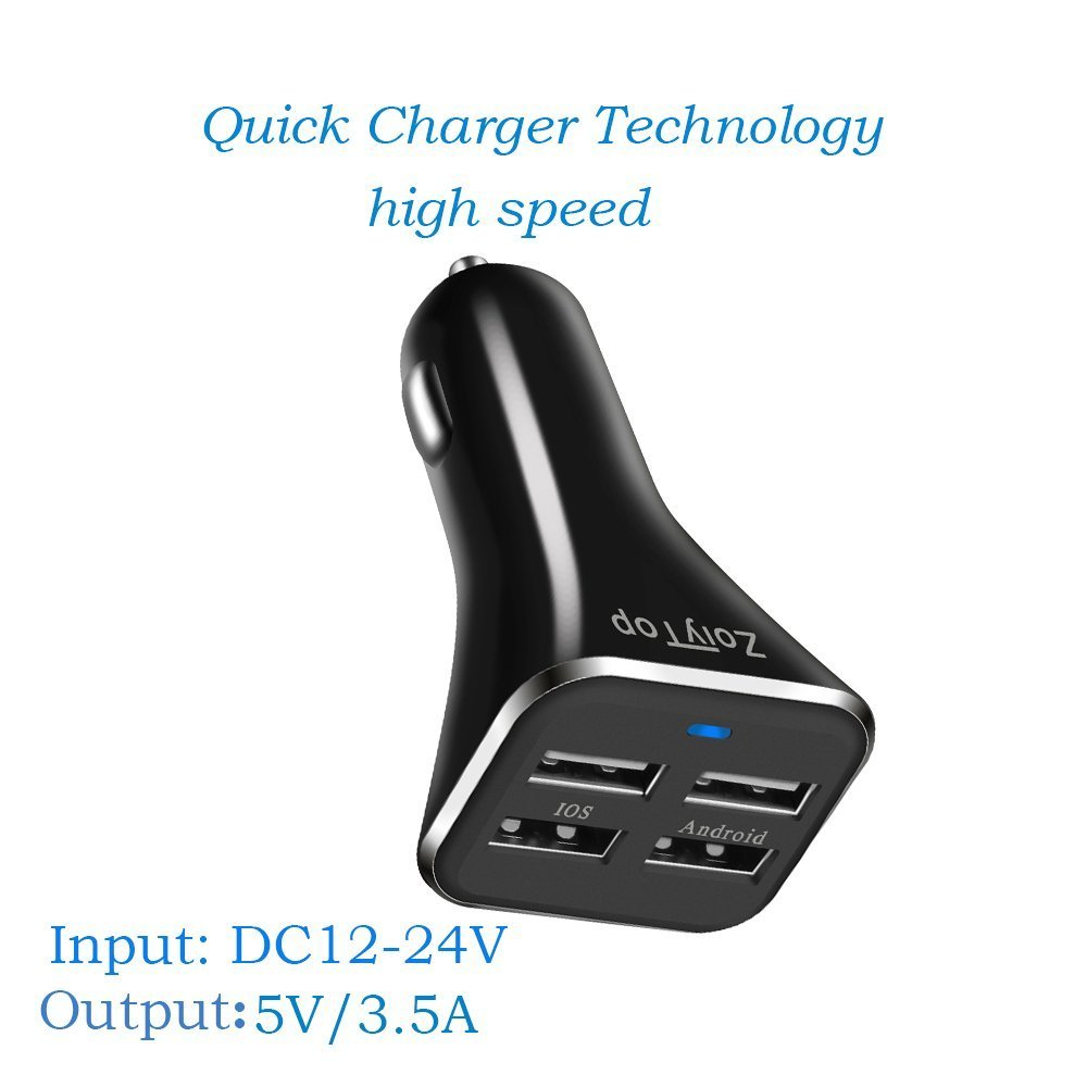 Car charger, ZoiyTop 48W Dual Port USB Car Charger, Quick car usb adapter for iPhone7/7Plus/6/6s/6plus/6s plus, iPad Pro/Air2/mini, Galaxy S7 /S6 / Edge / Plus, Samsung, LG, Motorola, HTC(Black)