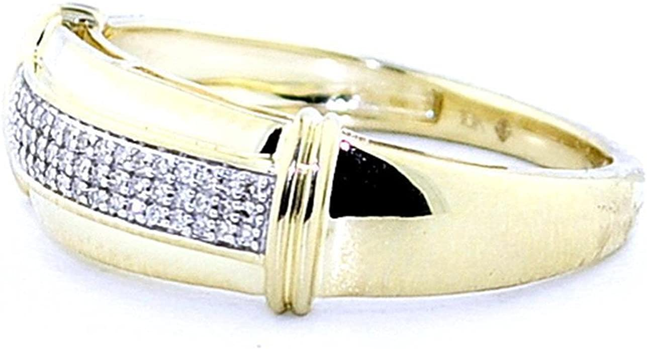 Amazon.com: Boda de diamantes banda mens 10 K oro amarillo ...