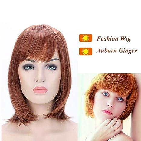 Pelucas Cortas Mujer con Flequillo Pelo Natural liso Fibras Sintéticas Kanekalon Resistente al Calor para Cosplay