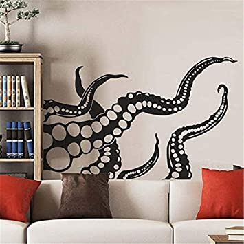 Music Sticker Wall Art Octopus Wall Decal Tentacles Kraken Decals Bedroom Bathroom Decor Sea Ocean Animals Nautical Wall Decals Vinyl Sticker Decor Amazon Co Uk Diy Tools