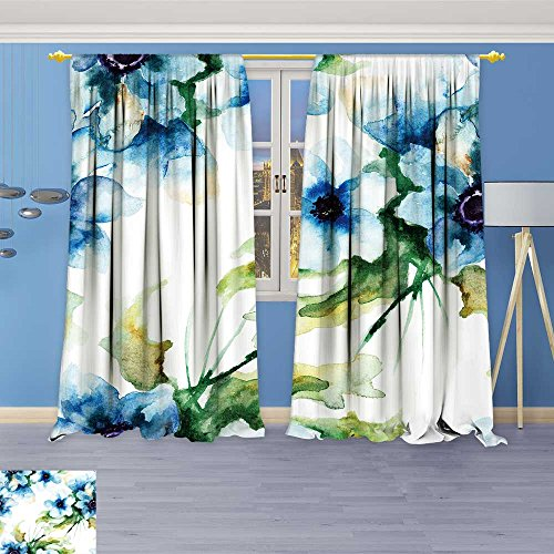 SOCOMIMI Antique Decor Collection, Wallpaper with Summer Blue Flowers,Living Room Bedroom Curtain 2 Panels Set, 120W x 108L inch
