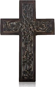 Wooden Religious Catholic Crucifix Cross Wall Hanging 12 x 8 Inches French Plaque Floral Carvings Living Room Home Decor Accent Church Chapel Altar Wall Art Decor Display Antiqued Rustic Finish