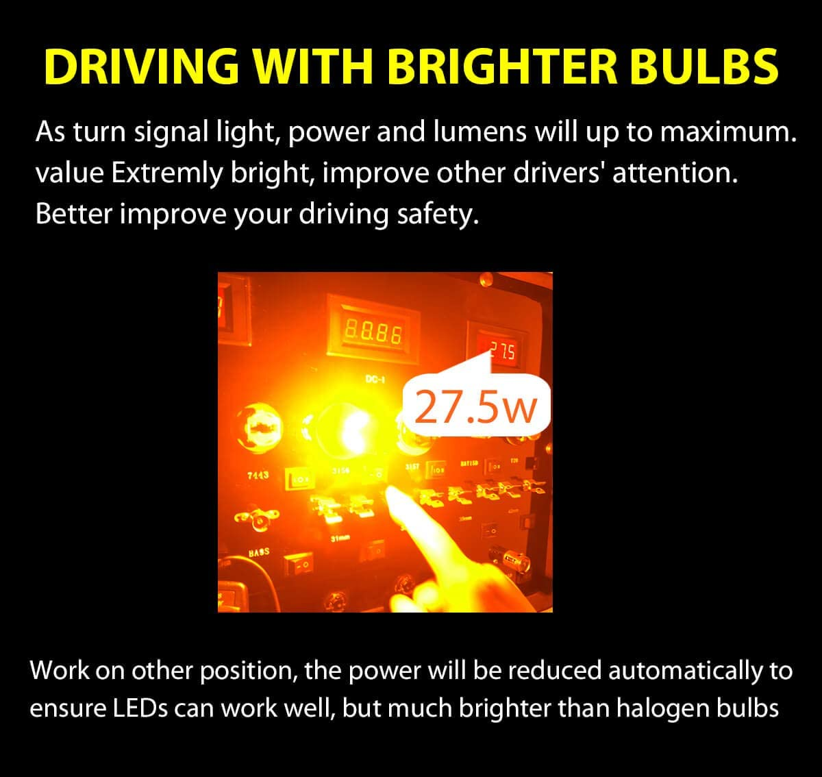Pack of 2 28W 2600LM Extremely Bright Amber Yellow-1 Yr Warranty Build-in CANBUS Anti Hyper Flash 3156 3056 P27W LED Turn Signal Light Blinker Bulbs Plug /& Play No Load Resistor Need