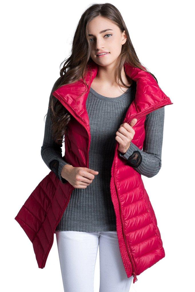 Women's Long Down Vest Puffer Lightweight Down Jacket Stylish Windbreaker Coat Dark Red XX-Small(Tag M)