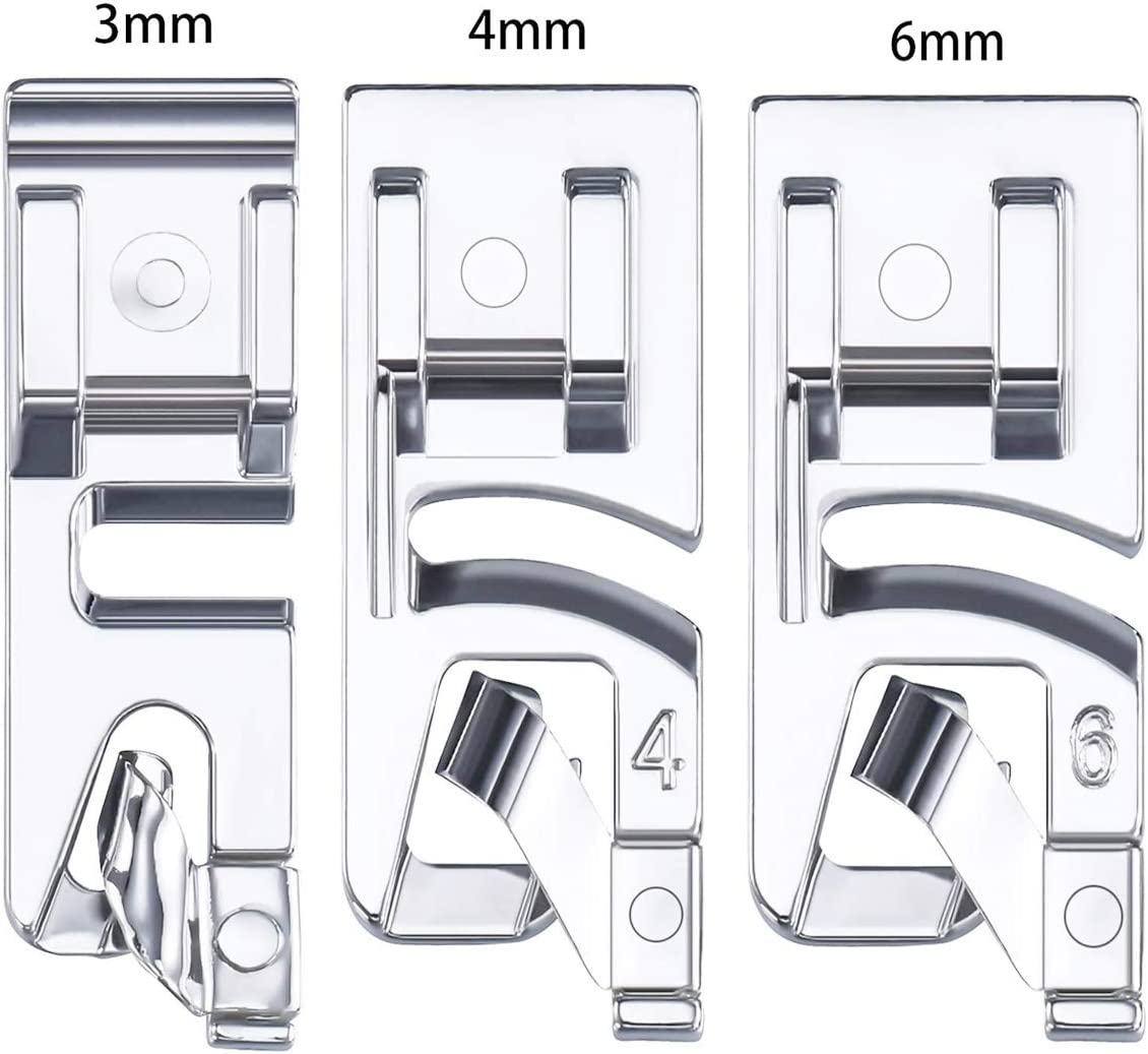 3 mm, 4 mm and 6 mm Aunifun 3 Pieces Narrow Rolled Hem Sewing Machine Presser Foot Set Suitable for Household Multi-Function Sewing Machines