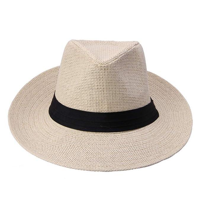 df6f4060d Mens Straw Hats Summer Beach Casual Large Brim Sun Caps Unisex at ...