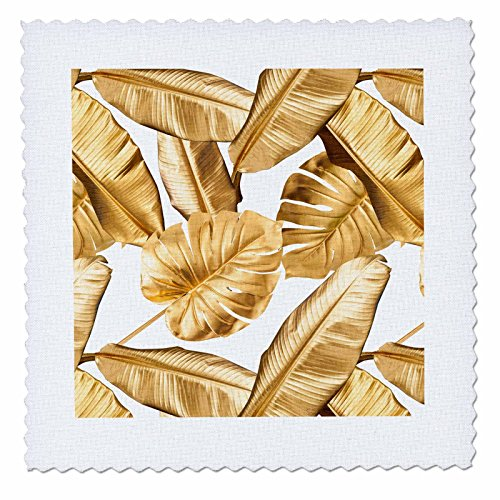 3dRose Uta Naumann Faux Glitter Pattern - Image of Stylish Chic Gold Foliage Aloha Tropical Leaf Pattern - 14x14 inch quilt square (Gold Hawaiian Quilt)