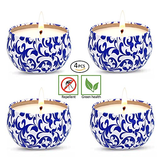 YIH Citronella Candles Scented Soy Wax, 20 Hour Burn, Natural Mosquito Repels, Outdoor and Indoor (set of 4)