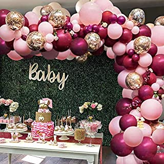 119Pcs Burgundy Pink Balloon Arch Garland Kit - Burgundy Pink Gold Confetti Latex Balloons with Balloon Accessories for Baby Shower Wedding Birthday Girl Party Decorations