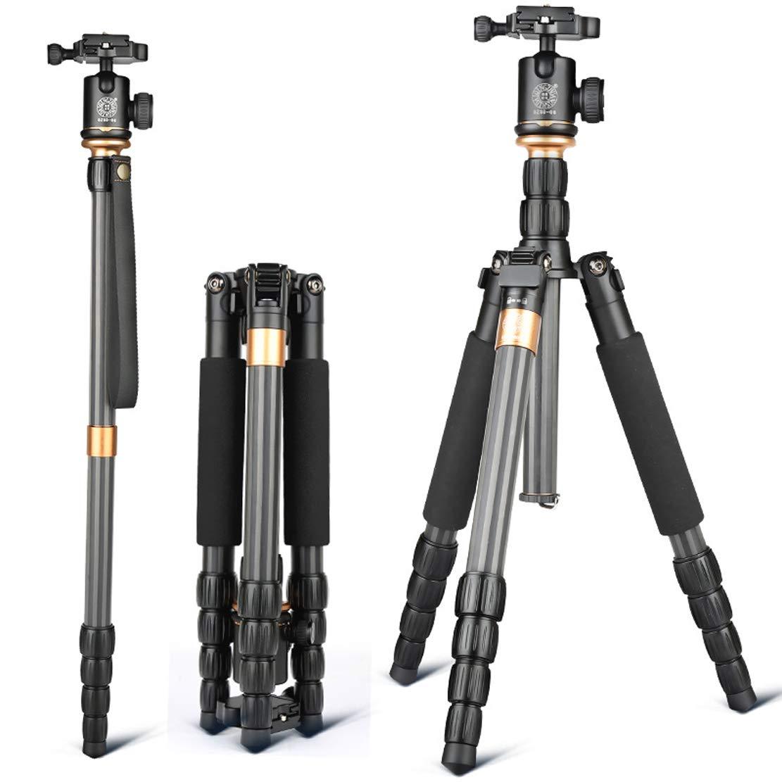 軽量 三脚 旅行152cmの高い適応モデルのために適した炭素繊維材料1.19kg DSR Slr キヤノンニコンソニーとその他のカメラ機器(3-10キロブラック)   B07QXRWZJ9
