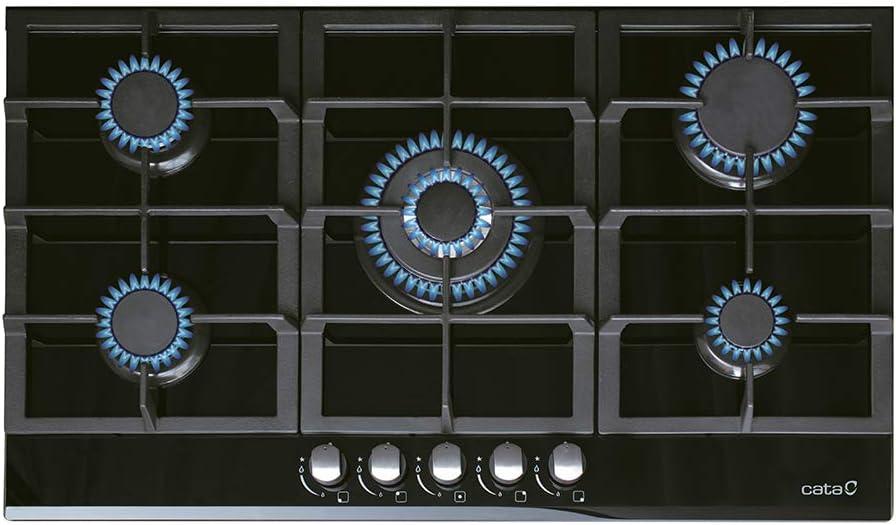 Cata Modelo LCI 9041 BK | 5 Quemadores Encimera de Gas Natural | Ancho de 87 cm | Encendido electrónico Integrado en el Mando, 1750 W, Vidrio: Amazon.es: Hogar