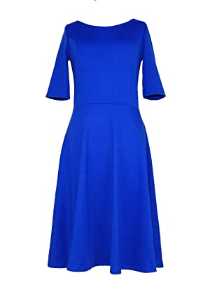 Modeway Round Neckline High Waist Classy Casual Cocktail Dress(S,Royal Blue)N3-1