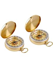 Tebery 2 Pack Classic Pocket Style Copper Clamshell Compass Waterproof Luminous Compass Camping Gear Survival Gear