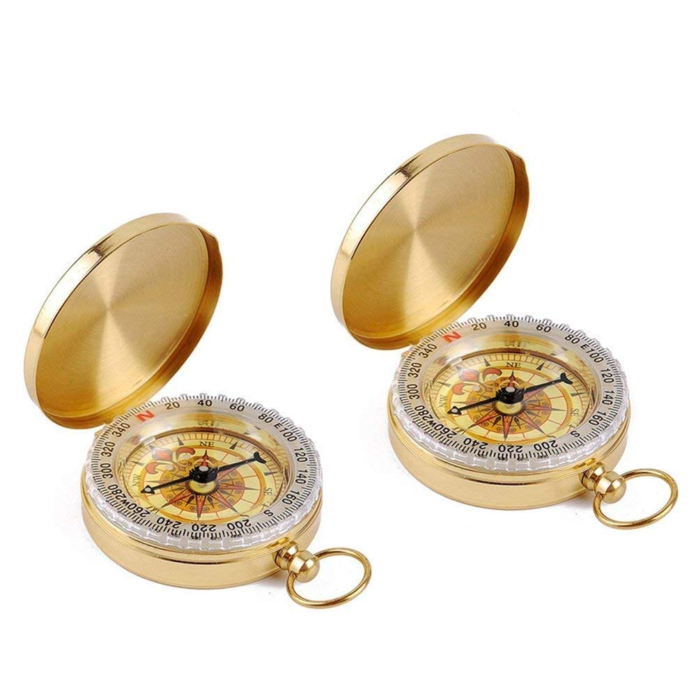 Tebery Copper Clamshell Compass - Camping Survival Compass - Glow in the Dark Military Compass - Waterproof Compass - Highest Quality Survival Gear Compass (2 Pack)