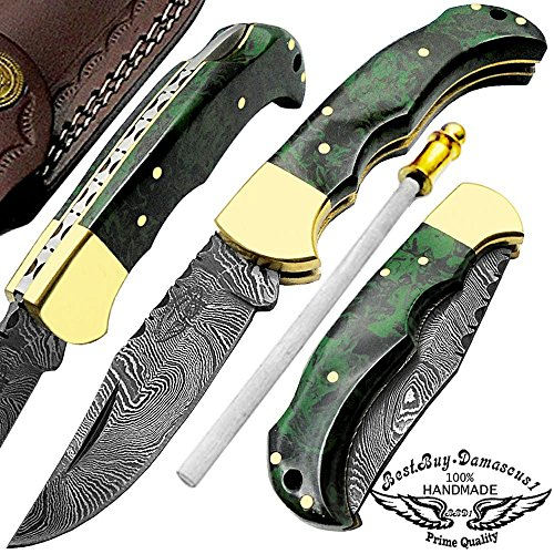 Beautiful Camouflage Resin Handel 6.5″ Custom Handmade Damascus Steel Folding Pocket Knife Brass Bloster with Back Lock Plus Sharpening Rod 100% Prime Quality Review