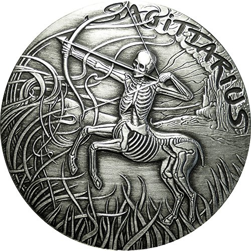 2015 United States Skullcoins SAGITTARIUS Memento Mori Zodiac Skull Horoscope Silver Coin 2015 Antique Finish