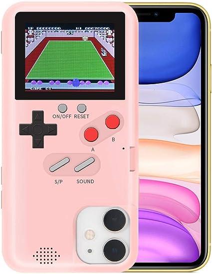 Hamkaw Coque de jeu anti-choc pour iPhone 11 pro max - Motif rétro 3D avec 36 jeux classiques sur écran couleur - Noir, ABS TPU., rose, IPhone11