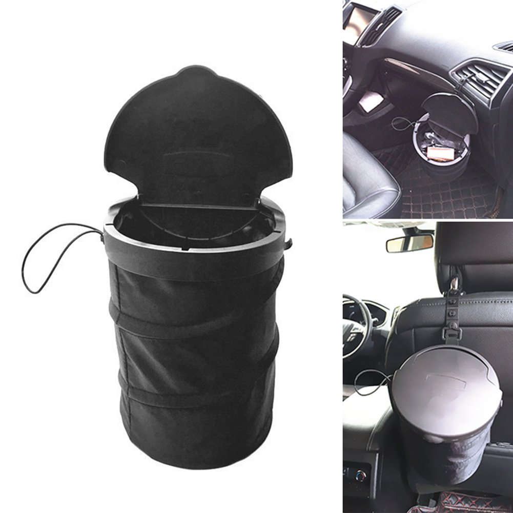 Bodhi2000 Universal Collapsible Travel Auto Car Trash Can Bin Bag Rubbish Garbage Holder - Black