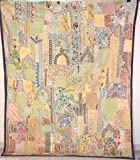Heavy Beaded Work Embroidered Vintage Wall Hanging Bedspread Cover Tapestry VP12