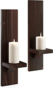 Wood Wall Sconce Candle Holder (Set of 2)  Wall-Mount Wooden Candle Holders   Wallmounted Rustic Pillar Candle   Floating Hanging Shelf   Farmhouse Decoration Handmade Candlestick (Classic Walnut)