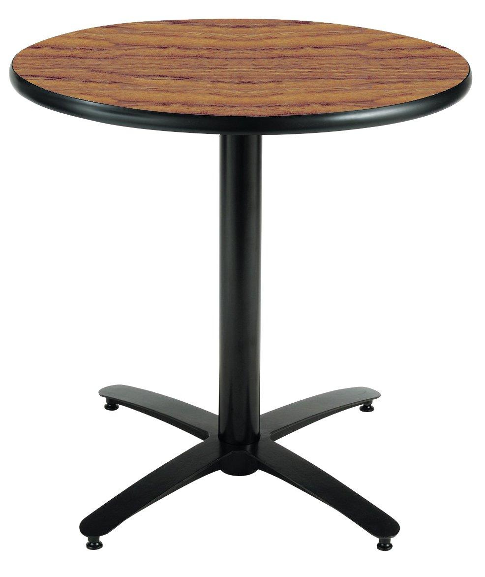 KFI Seating Round Pedestal Table with Arched X Base, Commercial Grade, 36-Inch, Medium Oak Laminate, Made in the USA by KFI Seating
