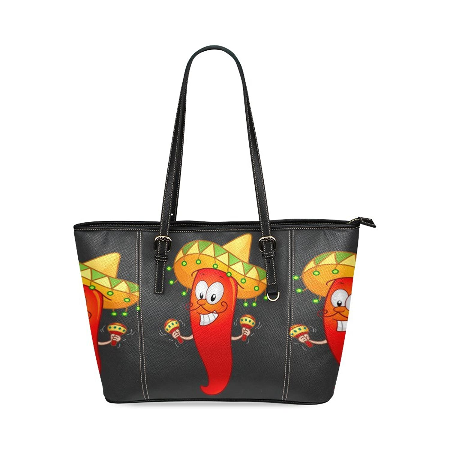SLsenD Women's Mexican Chili With Maracas Leather Tote Bag Shoulder Bags
