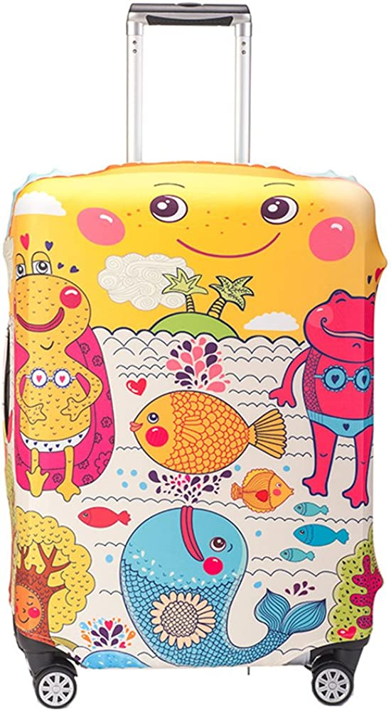 Durable Travel Luggage Cover Myosotis510 Cute Cartoon Suitcase Protector Fits 18-32 Inch Luggage