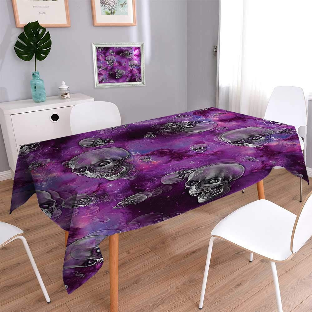 Vanfan Indoor/Outdoor Horror Movie Themed Flying Skull Heads Halloween in Outer Space Bathroom Kitchen Tablecloth Picnic Cloth 60''x84''