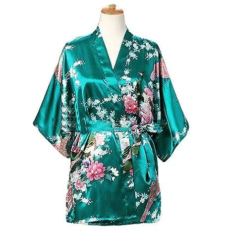 Verde - Mujer Pijamas de Tela de Seda imitada Albornoz Corto Bata de Kimono Pavo Real