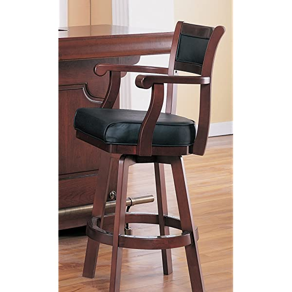 Lambert Bar Stool with Leather Back and Swivel Seat Black and Cherry