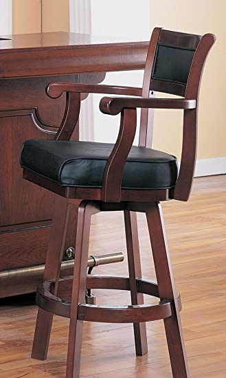 coaster bar stool chair with swivel black leather seat and back cherry finish