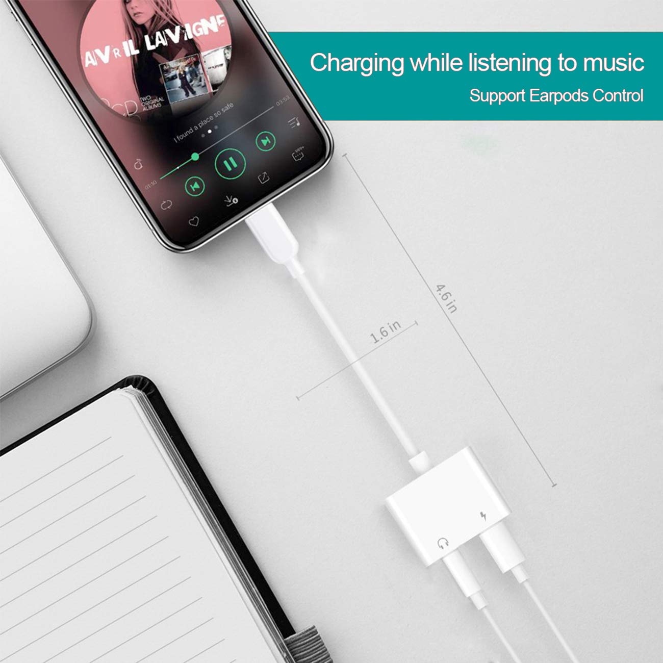 Charger Cable Splitter Adaptor Stereo Aux Converter Charging for iPhone Dongle Headphone Jack Adapter Compatible with iPhone7//7Plus//8//8Plus//X//XS//XR Supports ios11//12 Headphone 2 in 1 to Audio