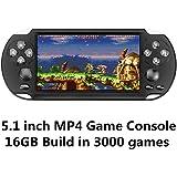 CZT 5.1 inch Screen 16GB 128Bit Retro Video Games Console Built-in 3000 Games for Arcade NEOGEO/CPS FC/NES,SFC/SNES/GB/GBC/GBA/SMC/SMD/SEGA Handheld Game Console MP3/4 (Black)