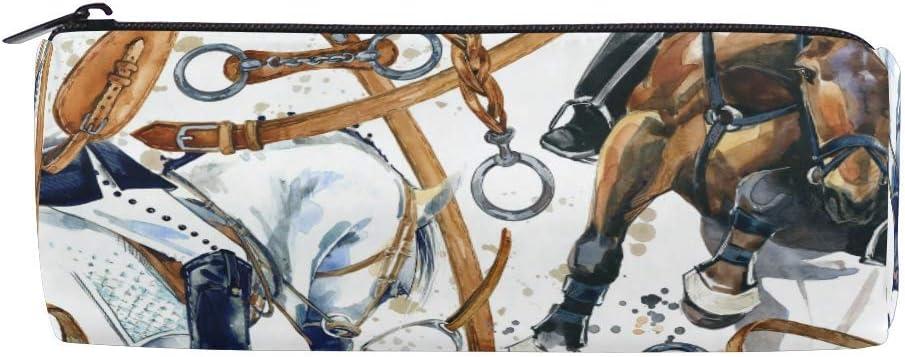 AOOEDM Caballo Cilindro de silla de montar Estuche para lápices Soporte Cremallera Bolsa de bolígrafo de gran capacidad Estuche para estudiantes Papelería Bolsa de maquillaje cosmético