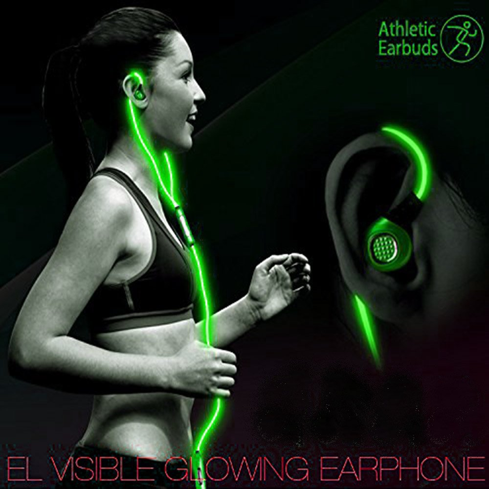 ab130fad5d1 Amazon.com: LightingCool Visible Glowing LED in-Ear Earphone Light Up  Stereo sport Headphones with Mic over ear style Lights Flashing to Music  Beat Wired ...