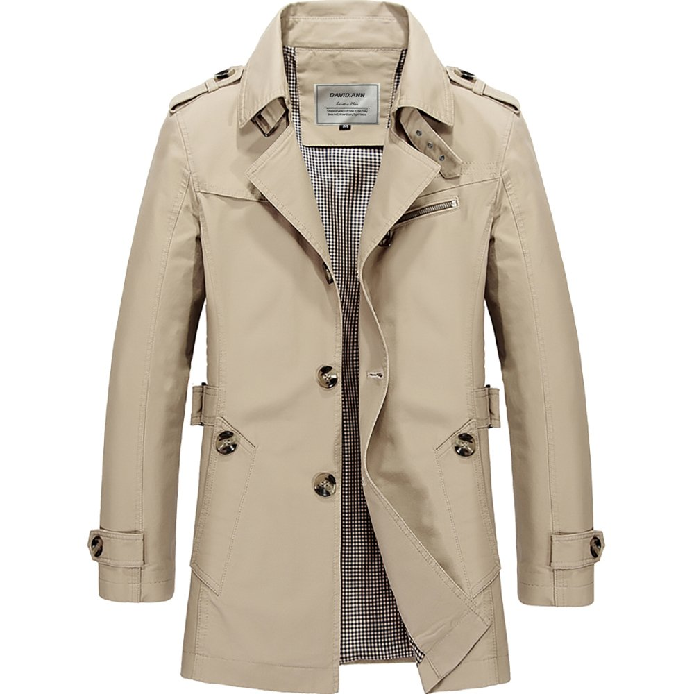 LINGMIN Mens Single Breasted Business Jacket Notched Lapel Slim Fit Outwear Pea Coats