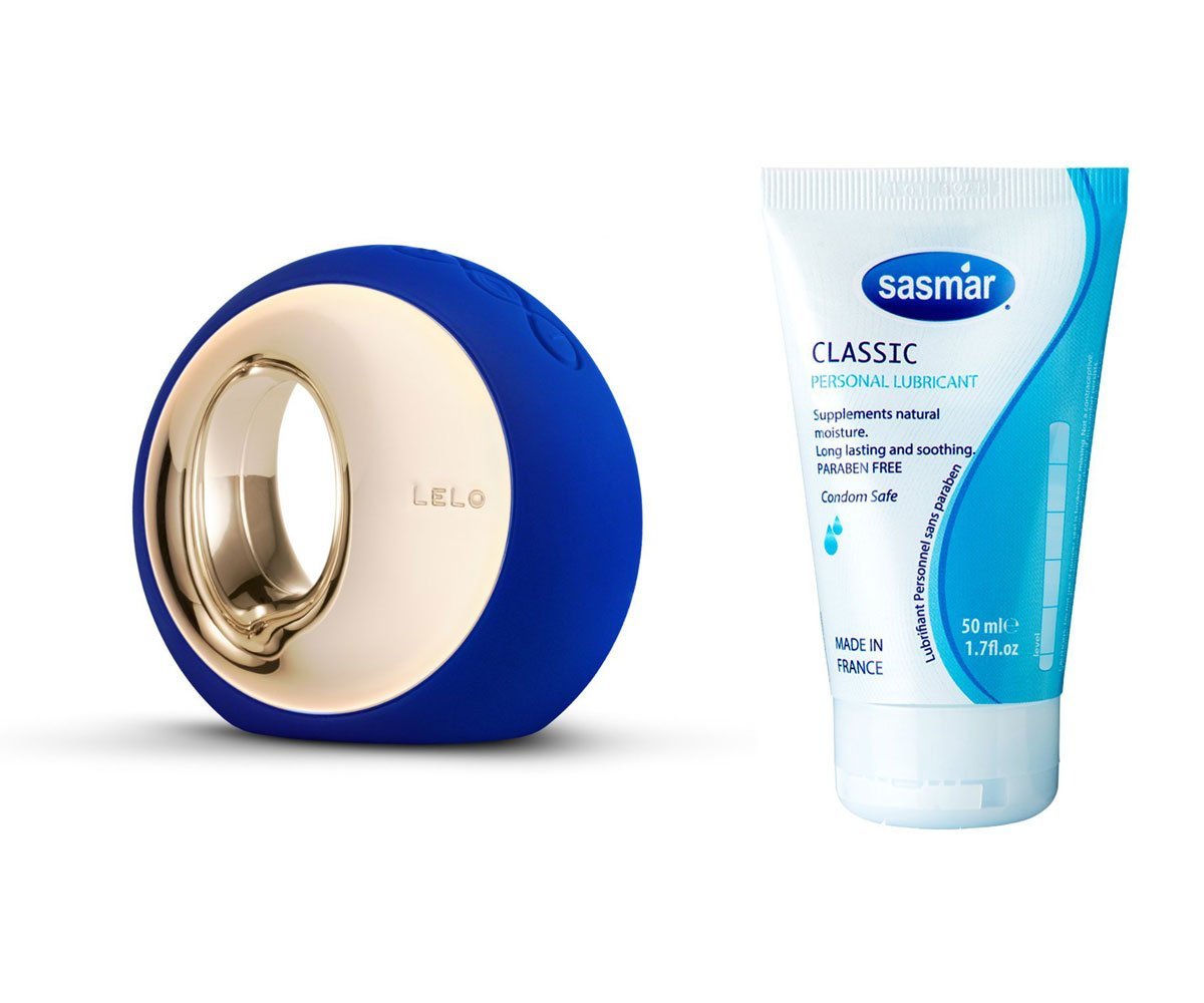 Bundle Kit-LELO ORA Blue+FDA Approved Sasmar Classic Water-Based Personal Lubricant 1.7 Fl.oz Made in France by ELON DESIGN
