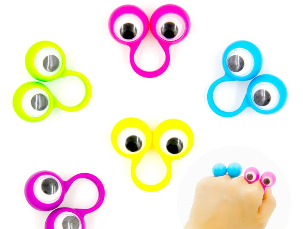 9Snail 24PCS 4CM Eye Finger Puppets Plastic Rings with Wiggle Eyes Assorted Colors Kids Gift Toys Great for Party Favor Pinata Fillers