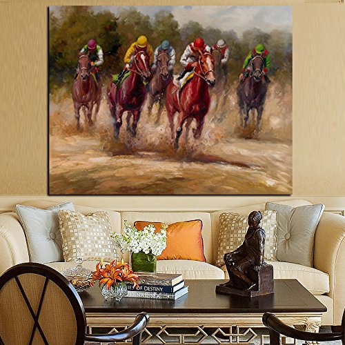 ALENIS Large size HD Print Animal Horse Racing Oil Painting on Canvas Abstract Modern Pop Art Wall Picture for Living Room Sofa Cuadros Decorative -